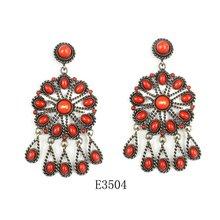 fashion vintage orange red stone earrings 2012
