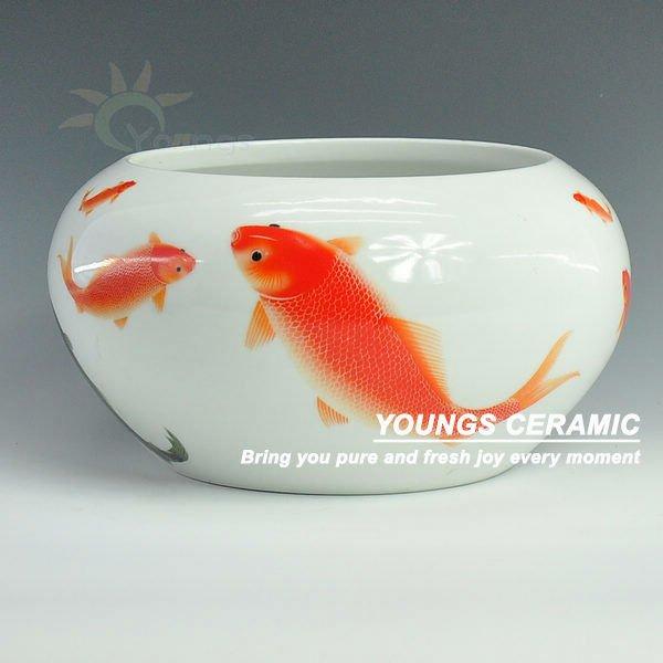 Beautiful Jingdezhen White Ceramic Small Fish Bowls View