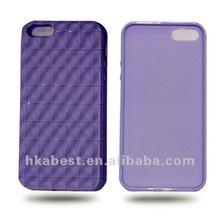 Purple Grid TPU Soft Gel case for iphone 5