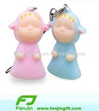 Pvc cute mobile phone key chain