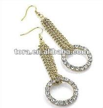 Fashion Sparkling Chain & Diamante Circle Drop Earrings (Gold Tone Metal) 2012 fashion earrings diamond long earrings