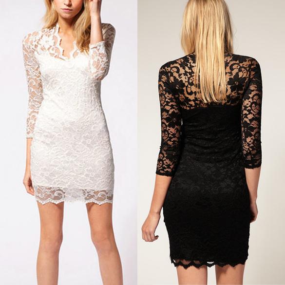 2012 Women's Fashion Lace Dress Slim Flower V-Neck