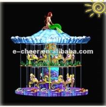 Kiddie game Mini merry go round double deck carousel