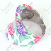 2012 novel hot sale man&woman 100% 316L stainless steel flower ring ceramics TG0834