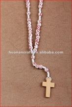 religious rosary crucifix cross statue keychain pendant wooden beads souvenir decorative car air freshener