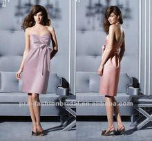 Colorful 2012 Best Selling Strapless Bows Belt Tea Length Junior Bridesmaid Dresses