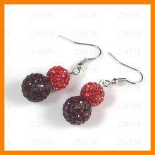 Crystal Earring Hook Crystal Red