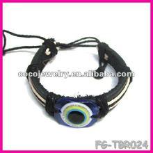 2012 yiwu china turkey evil eye leather cross colorful DIY bracelet