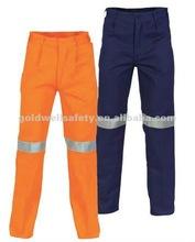 Le pantalon de travail de foret de coton avec la bande de 3M R/Tape/reflective fonctionne le pantalon