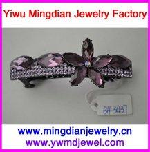 rhinestone violeta acessório da flor preta do grampo do metal 7.5 pinos de bobby desobstruídos BH3437 do cm