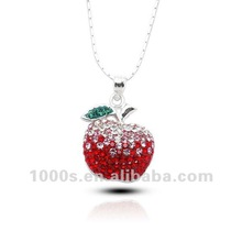 Colorful Crystal apple shape Christmas Charms-SWP0165