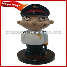 cool policeman boy polyresin cartoon action figure with gun for gift