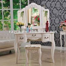 (E003) Solid wood white mirror dresser