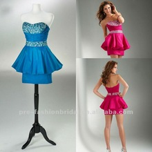 Sexy Colorful 2012 Charming Strapless Sweetheart Beaded Applique Belt Hot Pink Cocktail Dresses