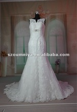 OUMEIYA ORW229 Lace Appliques High Neck Buttons Back Sheer Wedding Dress