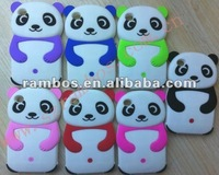 Color solid panda cartoon silicone cover back case for IPod Touch 4