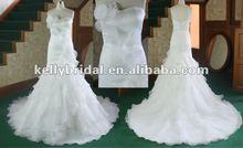 Elegant satin&organza beautiful hand make flower fish tail cathedral train bridal gown