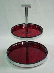 Metal Abstract Totem Design 2 tier dessert tray