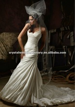 Latest halter beaded ruched sheath custom-made bridal wedding gowns CWFaw4633