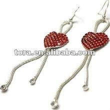 Fashion Red Crystal Heart & Silver Rope Earrings diamond long earrings heart earrings