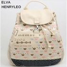 Korea style 2012 Print PU girls'backpack,lovely students' cartoon traveling bag