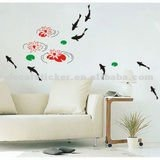 Hot Sale Waterproof Lively Fish Swim Among The Lotus Home Wall Decor Mural Vinyl Decal&Sticker