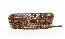 Beaded Triple Wrap Bracelet - Tiger Eye MLB3899