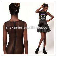 chain print suit sheer mesh back lady suit