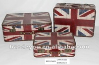tote flag pattern decorative Wooden Storage trunk 3 in 1 set