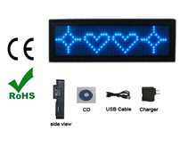 (Direct Manufacturing) recharge battery Led message display /board,magnetic/Pin plastic name badge holder12 x 48 pixel
