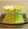 Green /White Reversible Polka Dot Cupcake Skirts COLLARS Wrappers Wraps