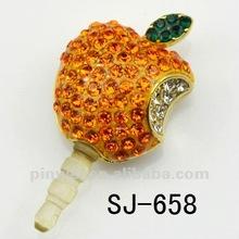 Hot selling 3.5mm Cz Rhinestone Apple anti dust plug charm for Samsung Galaxy SJ-658