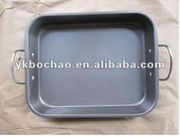 carbon steel non stick coating square baking pan with handle