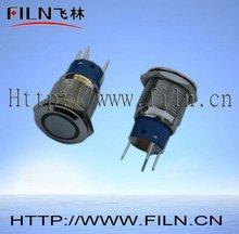 50 pcs/lot 19mm brass nickel plated latching illuminated micro push button switch 6vac ring blue LED flat round actuator