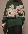 suéter del vestido de las señoras con el waistbelt, manga del batwing
