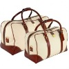 good looking canvas travel bag with leather trim