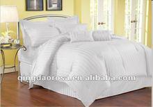 100% cotton sateen stripe 500TC silky comforter set white