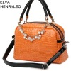 Pearlite layer candy color women PU handbag,beading decoration lady dress shoulder bag
