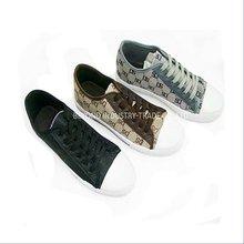 Lace up men casual black canvas shoes guangzhou