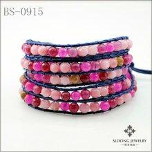 2012 Multi Color Bead Five Wrap Bracelet On Blue Leather
