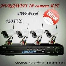 2012 New D1 6ch 420TVL NVR&WIFI IP camera KIT