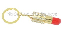 Fashion lipstick enamel crystal key chain metal