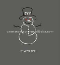 2012 beautiful and fashional rhinestones iron on transfers snowman for clothing hottest sale