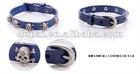 western style genuine cheap leather bracelet with skull shape rivets