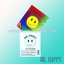 Colorful Mr.Happy --popular and hot sell small zipper packaging bag with plastic foil material