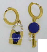 14k solid yellow gold lovely lock and key earring with blue enamel