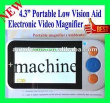 """"""" luz video electrónica de la cámara de la lupa de la visión 4.3 de la ayuda baja portable de la lectura"""