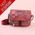 Brand good quality mickey red messenger plaid button women bag