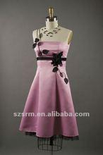 One Shoulder Flower Satin Sash A Line Real Photo Design Cocktail Dress 2012