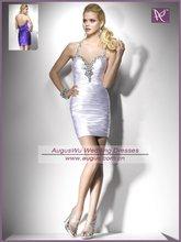 ACB0273 Sexy Sheath Halter Beaded Taffeta Cheap White Party Cocktail Dress